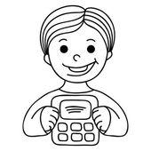 Smiling boy with calculator — Stockvektor