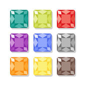 Cartoon square gems icons set — Stock Vector
