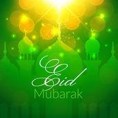 Eid Mubarak Greeting Card with mosque — Stock Vector