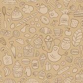 Hand drawn Bakery Seamless Pattern — Stock Vector