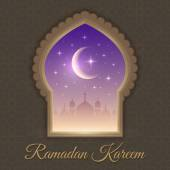 Greeting cards with mosques and moon — Stockvektor