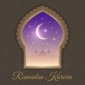 Greeting cards with mosques and moon — 图库矢量图片