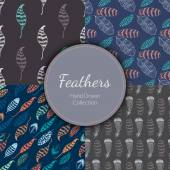 Seamless Patterns Set with Feathers — Stock Vector