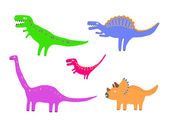 Colour dinosaurs vector set — Vettoriale Stock