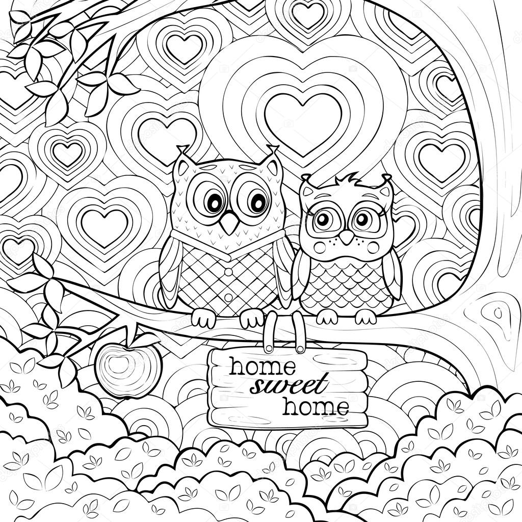 Adults Art Therapy Coloring Page Of Two Cute Owls Stock