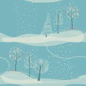 Seamless winter background with trees — Vetor de Stock