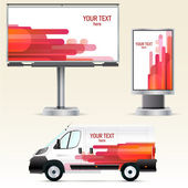 Template outdoor advertising or corporate identity on the car, billboard and citylight — Stock Vector