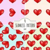 Four seamless backgrounds with hearts. — Stock Vector