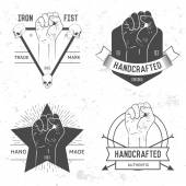 Set of labels, logotypes with hand — Wektor stockowy