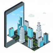 City and mobile device — 图库矢量图片