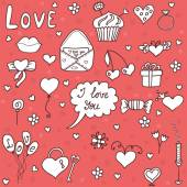 Romantic vector set in cartoon style. Fantasy about love — Vector de stock