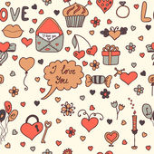 Romantic seamless pattern. Lovely background in cartoon style — Vecteur