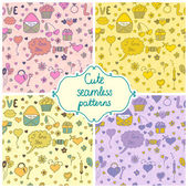 Set of romantic seamless pattern in vector — Stock Vector