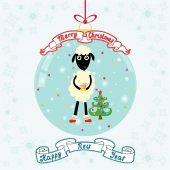 Kerstmis bal met schattige schapen en kerstboom. Merry kiest — Stockvector
