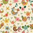 Seamless pattern with cute cartoon birds and flowers — Stock Vector #61893629