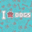 I love dogs. Background with animal footprints and bone — Stock Vector #64085761