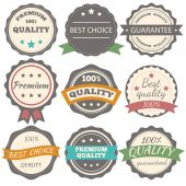 Best choice, guarantee and premium quality vector vintage badges — Stock Vector