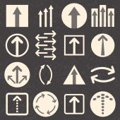 Arrow sign icon set on black background. — Stock Vector