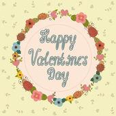 Happy Valentine's Day Greeting Card. Floral frame — ストックベクタ