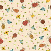 Seamless pattern with leaves, hearts and ladybirds — Stock Vector