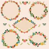 Set of floral romantic frames. Floral frames collection — ストックベクタ