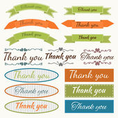Set of Thank You stickers, badges, ribbons and tags. Design elem — Stock Vector