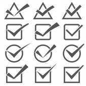 Twelve different grey check marks. Confirm icons set — Stock Vector