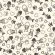 Seamless pattern with cat paw prints, fish bone, and hearts. End — Stock Vector #66663467