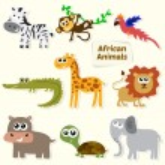 Set of jungle animals. Cute cartoon African animals — Stock Vector #66663515