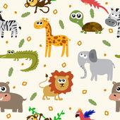 African animals seamless pattern. Cartoon childish animals — Stock Vector