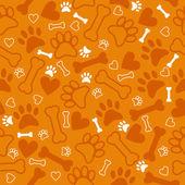 Seamless pattern with dog paw print, bone and hearts. Orange bac — Stockvektor