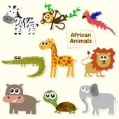 Set of jungle animals. Cute cartoon African animals — Stock Vector