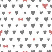 Hand drawn seamless pattern with hearts and bows — Stock Vector