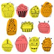 Vector set of hand drawn cupcakes on white background — Stock Vector #72088961