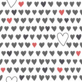 Cute seamless pattern with grey and red hearts — Stock Vector