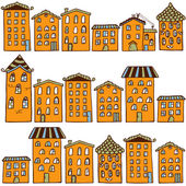 Cute seamless pattern with houses. Home sweet home — Stock Vector