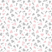 Hand drawn seamless pattern with cute diamonds — ストックベクタ