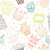 Seamless pattern with hand drawn cupcakes — Vector de stock