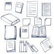 Hand drawn book, documents, notebook and sheets of paper — Stock Vector #74596489