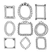Collection of hand drawn frames. Vintage photo frames — Stock Vector