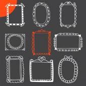 Collection of hand drawn frames. Cute photo frames — Vetor de Stock