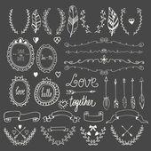 Hand drawn graphic set. Wedding set of arrows, laurel, wreaths,  — Vetor de Stock