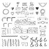 Handsketched vector design elements. Hand drawn ampersands, catc — Vetor de Stock