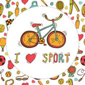 I love sport. Bicycle emblem. Hand drawn doodle sport background — Stock Vector