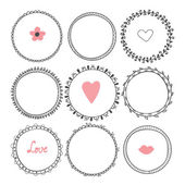 Romantic collection with hand drawn round frames — Vetor de Stock