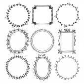 Romantic hand drawn frames — Vetor de Stock