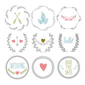 Set of hand drawn frames with wedding decorative elements — Stock Vector