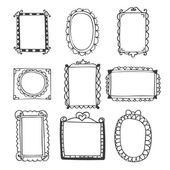 Set of hand drawn frames. Vintage photo frames on white backgrou — Stock Vector
