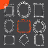 Set of hand drawn frames. Vintage photo frames — Vetor de Stock