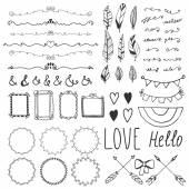 Set of romantic decor elements. Hand drawing style, sketchy vint — Stock Vector